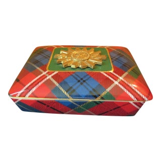 Vintage Neiman Marcus Holiday Tartan Trinket / Card Box For Sale