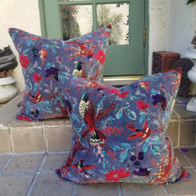 Cotton Velvet Chinoiserie Pillows a Pair For Sale - Image 4 of 4