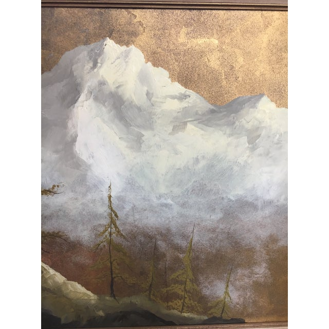 Wood Original Gold Leaf on Masonite Painting by Les Parisch - Grand Tetons For Sale - Image 7 of 12