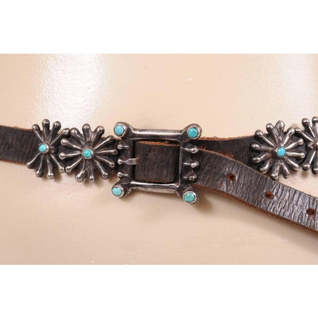 Native American Silver and Turquoise Concho Belt With Original Leather Strap For Sale - Image 4 of 8