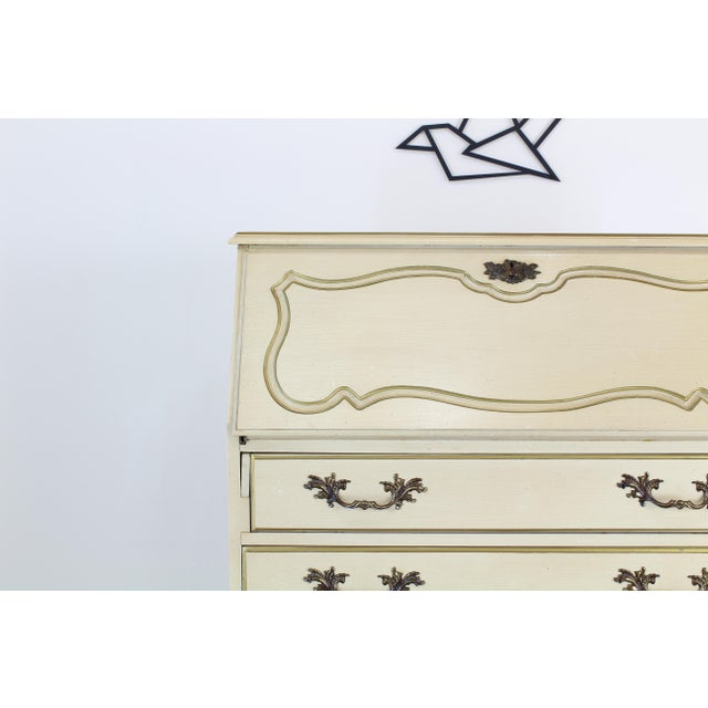 Traditional Secretary Desk, Cream Secretary Desk For Sale - Image 9 of 12