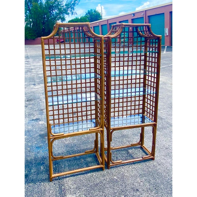 Hollywood Regency Vintage Hollywood Regency Bamboo Pagoda Etagere - a Pair For Sale - Image 3 of 8