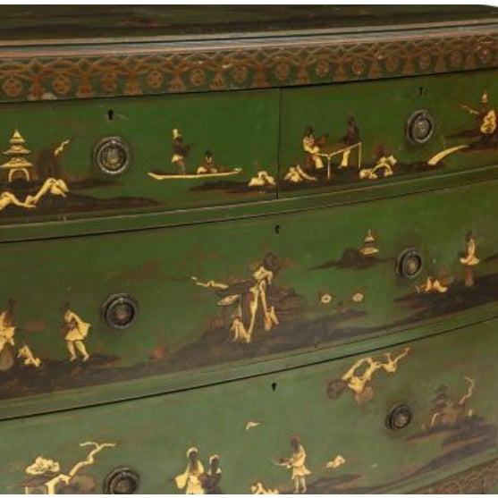 Chinoiserie Decorated Bow Front Chest of Drawers For Sale - Image 4 of 8