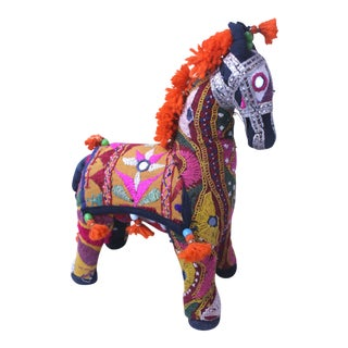 1950s Vintage Orange Accent Rajasthani Horse For Sale
