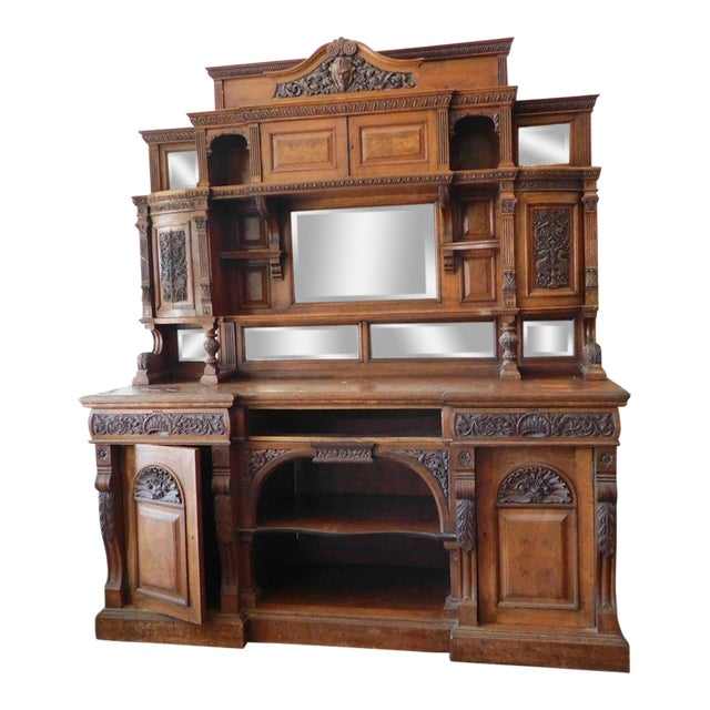 Early 20th Antique European Hutch For Sale