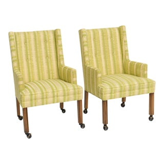 Mid Century Pair Tufted Highback Side Armchairs For Sale