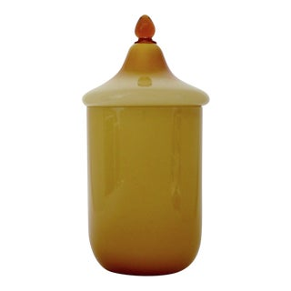 Italian Caramel Glass Canister For Sale