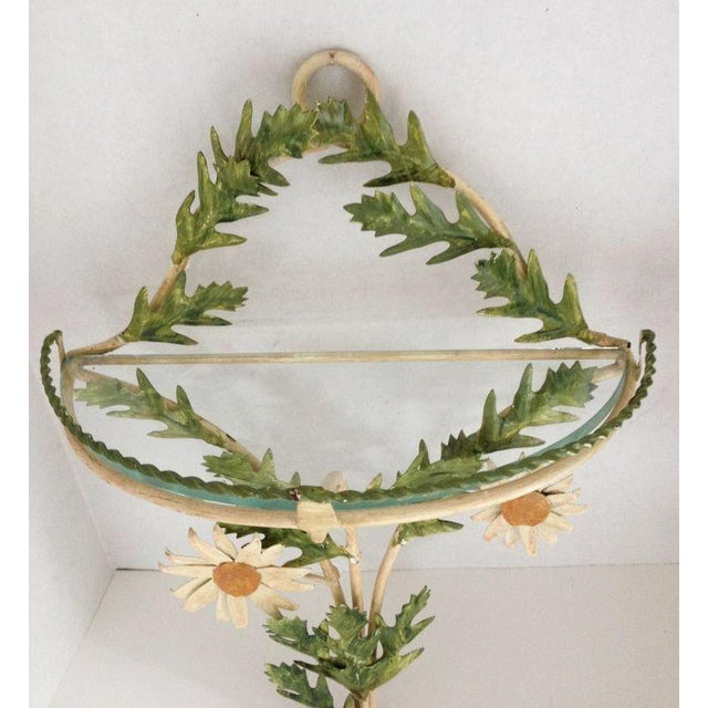 Tole Daisy Sconce Wall Shelves - Pair - Image 3 of 5