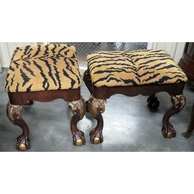 Georgian Georgian Style Tiger Print Upholstered Benches - a Pair For Sale - Image 3 of 6