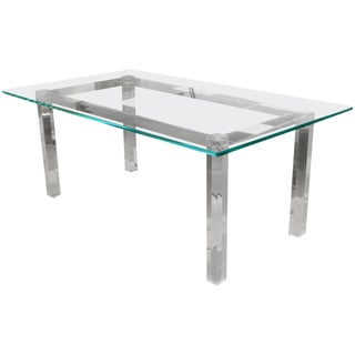 Mid-Century Modern Glass Lucite Chrome Dining Table Hollis Jones, 1970s For Sale