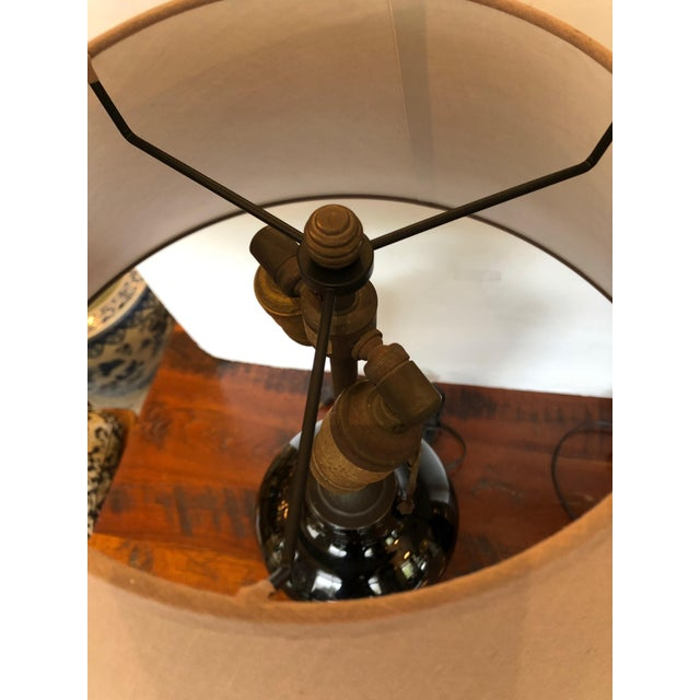 English Traditional Large Antique English Apothecary Bottle Lamps With Shades - a Pair For Sale - Image 3 of 10