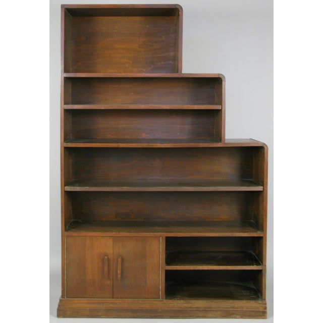 Art Deco Pair of 1940s Walnut Skyscraper Bookcases For Sale - Image 3 of 9
