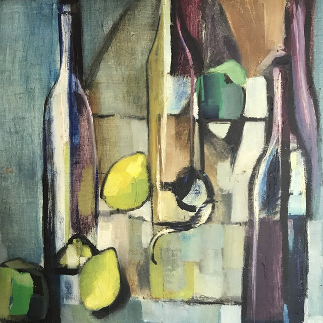 Mid-Century Modern Madiano Tomei Oil On Canvas Painting For Sale - Image 3 of 5
