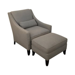 Kravet Classic Modern Lounge Chair & Ottoman For Sale