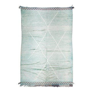 """Light Green, Aqua and White Silky Vintage Moroccan Rug - 10'2"""" X 6'7"""" Ft For Sale"""