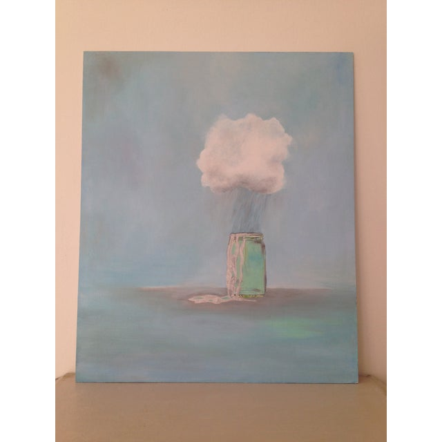 Rain Catcher Original Oil Painting by Natalie Mitchell Rain Cloud magically pouring silver rain into a glass jar, the rain...