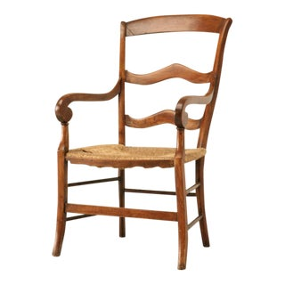 Unusual Original Antique Country French Cherrywood Fauteuil For Sale