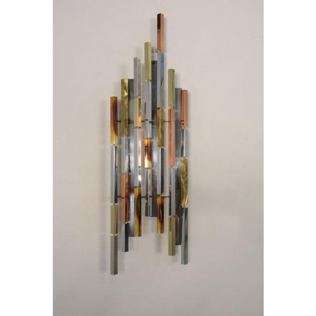 1970s mix metal wall sculpture steel brass copper.