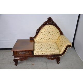 Vintage Victorian Style Carved Telephone Bench Preview