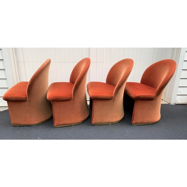 Vladimir Kagan 1980's Velvet Chairs With Brass Base - Set of 4 For Sale - Image 4 of 13