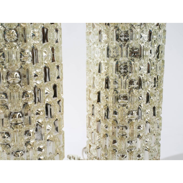 Textured Cylindrical Mercury Glass Lamps For Sale - Image 4 of 6