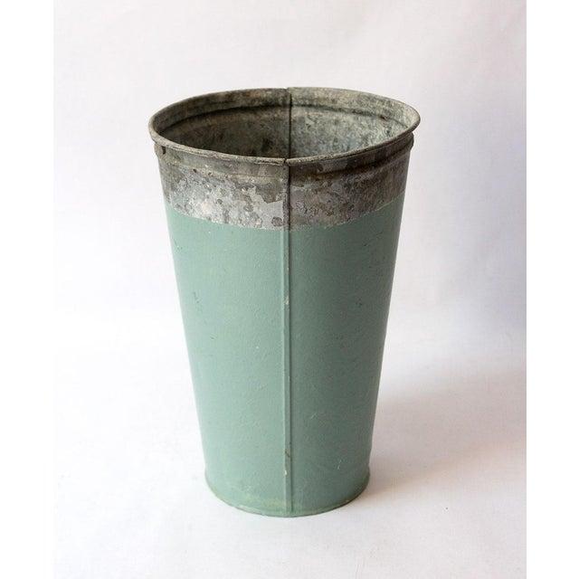 Beautifully aged galvanized metal vase, painted with a soft green-blue accent. We love this for dry flower displays or...