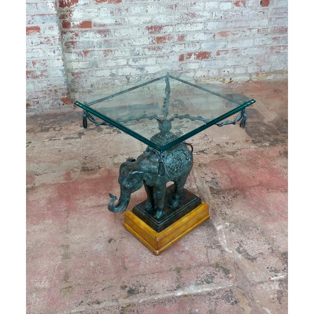 Maitland Smith Beautiful Bronze Elephant side Tables-A pair For Sale - Image 4 of 12