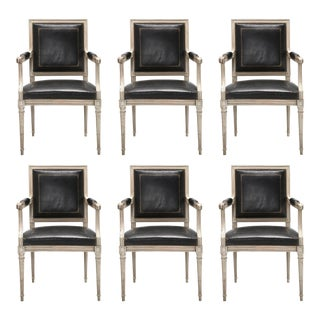 French Louis XVI Style Dining Chairs in Black Leather and Distressed White Paint - Set of 6 For Sale