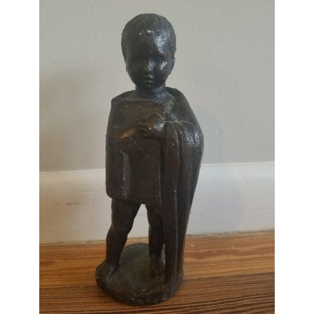 Plaster 1950s Vintage Mpi Boy Sculpture For Sale - Image 7 of 7