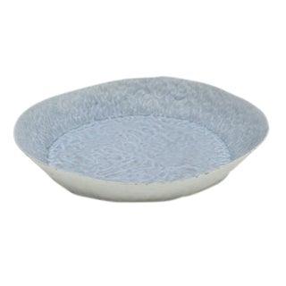 Handbuilt Blue and White Porcelain Platter, Shallow Bowl