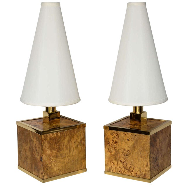 Burlwood and Brass Lamps Attributed to Romeo Rega For Sale