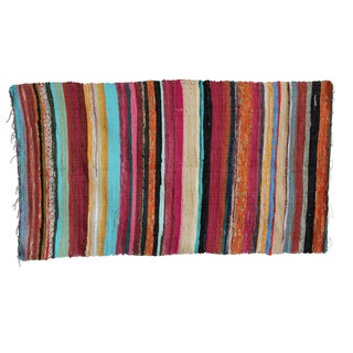 Recycled Colorful Striped Rug - 3′4″ × 5′ For Sale