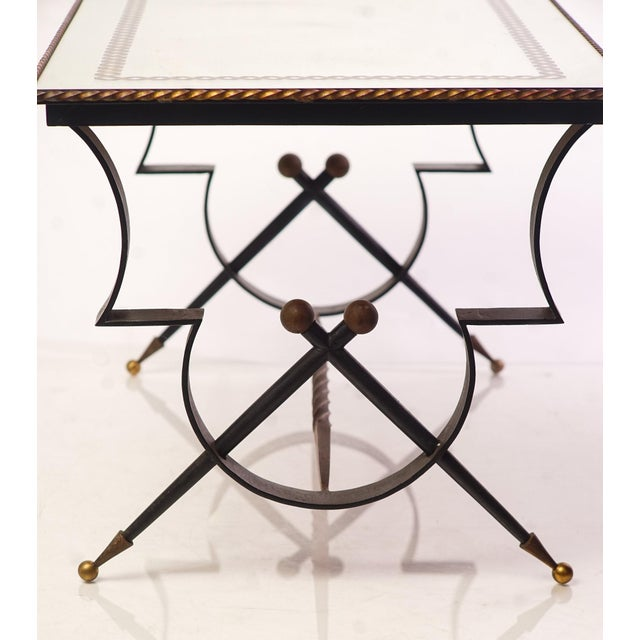 """20th c. French Iron and Glass Mirrored top Low Table cir: 1940 from Habité Collection 18""""W 19.5""""D 18""""H"""