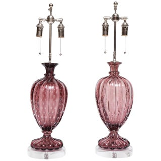 Amethyst Murano Colored Lamps by Barovier - a Pair For Sale