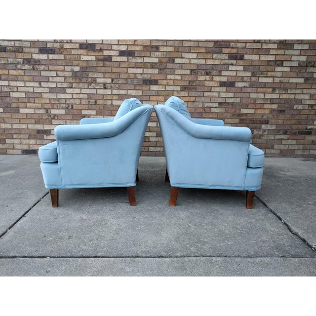 Vintage Blue Velvet Rolled Arm Club Chairs by Sam Moore Furniture - A Pair - Image 4 of 11