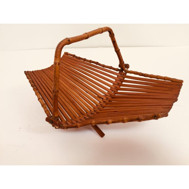 Wood Mid-Century Japanese Folding Bamboo Basket With Handle For Sale - Image 7 of 12