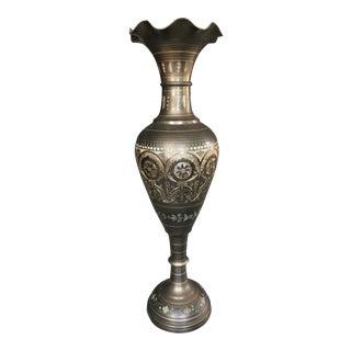 Indian Etched Brass Floor Vase