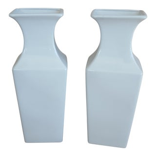 Vintage Chinoiserie Blanc de Chine Vases - A Pair For Sale