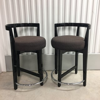 Preview Pair Counter Height Lacquered Stools With Chrome Footrest- a Pair Preview