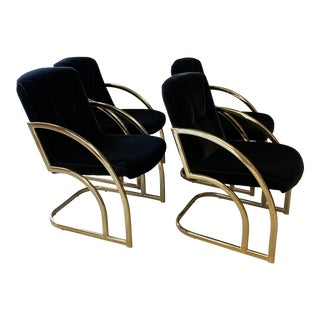 Vintage Bassett Mirror Co Dining Room Chairs With Black Velveteen Seats - Set of 4 For Sale