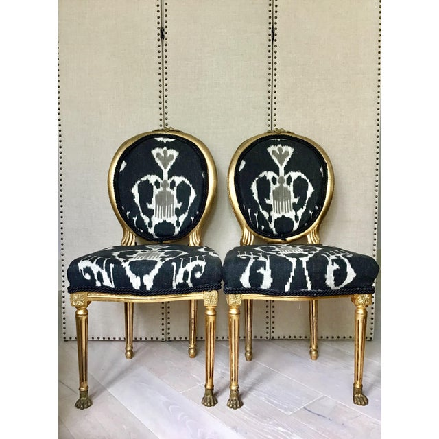 Black Mid Century Louis XVI Gilt Wood Ikat Chairs- a Pair For Sale - Image 8 of 8