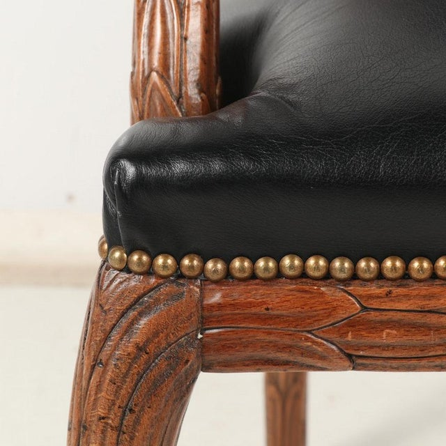 Vintage Mid Century Hand-Carved Italian Carved Wood Leather Bound Armchairs- A Pair For Sale - Image 9 of 13