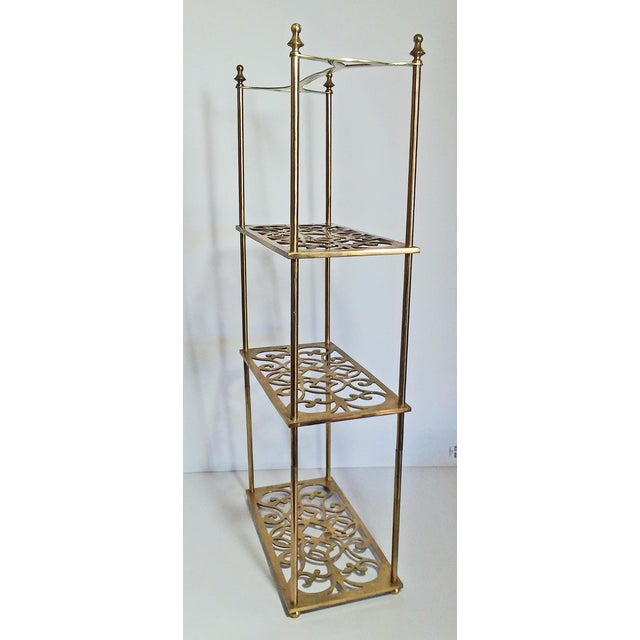 English Traditional Vintage Peerage Brass Freestanding 3-Tier Shelf For Sale - Image 3 of 6