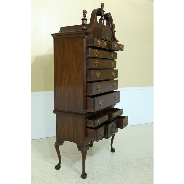 Wood Kittinger Biggs Model 1780 Chippendale Mahogany Highboy For Sale - Image 7 of 12