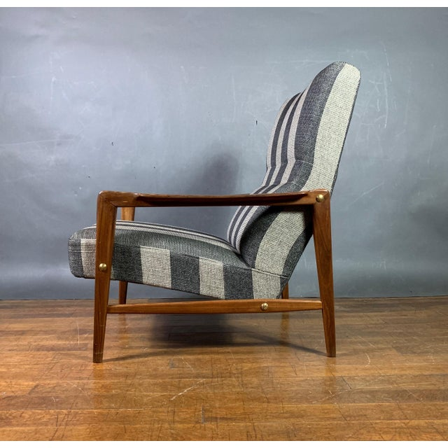 1960s Scandinavian Striped-Wool & Walnut Lounge Chair For Sale - Image 9 of 9