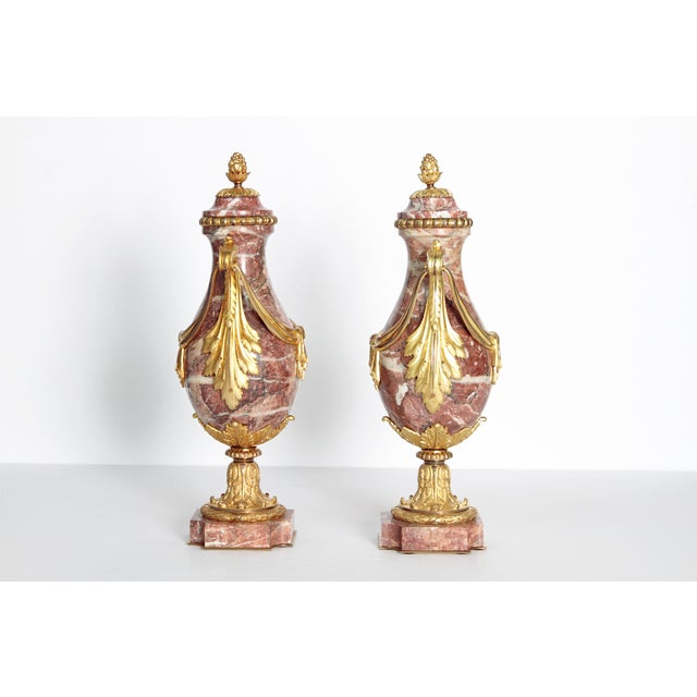 Pair of 19th Century Louis XVI Style Marble and Ormolu Mounted Cassolettes - Image 2 of 11