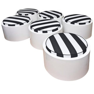 1970s White Lacquered Resin & Upholstered Round Outdoor Pool/ Patio Benches- Set of 6 For Sale