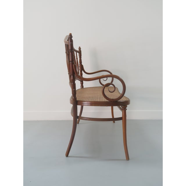 Art Nouveau Early 20th Century Thonet Style Bentwood and Caned Settee For Sale - Image 3 of 13