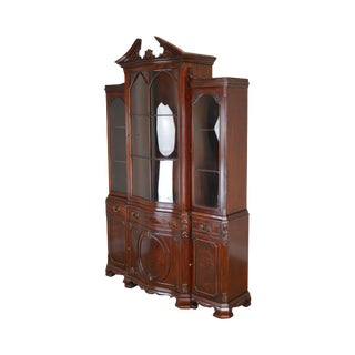 Georgian Style Custom Flame Mahogany Library Bookcase Breakfront Cabinet For Sale
