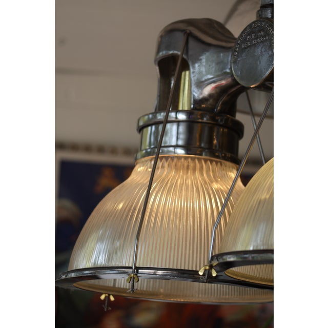 vintage holophane industrial double pendant lights chairish